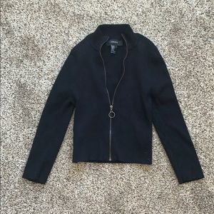 Forever 21 Cropped Fitted Zip Hoodie